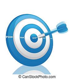 blu, valutazione, freccetta