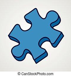 blu, variant., puzzle, icon., pezzo, cartone animato