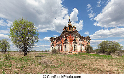 blu, vecchio, abbandonato, campagna, cielo, fondo, chiesa, nubi, mattone