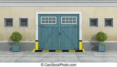 blu, vecchio, automobile legno, garage, facciata