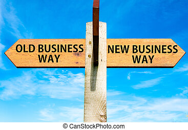 blu, vecchio, cielo, affari, opposto, legno, signpost, sopra, frecce, due, chiaro, modo, modo, concettuale, nuovo, immagine, cambiamento