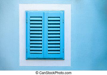 blu, vecchio, cornice legno, wall., finestra, bianco, otturatori