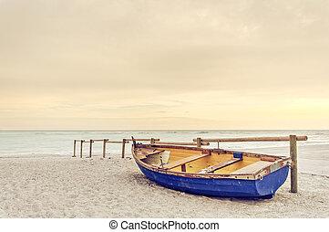 blu, vecchio, legno, giallo, riscaldare, tramonto, spiaggia bianca, barca