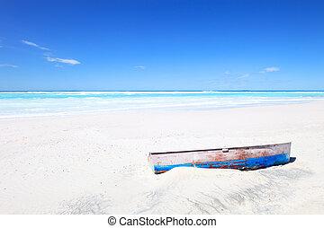 blu, vecchio, soleggiato, cielo, tropicale, spiaggia bianca, barca