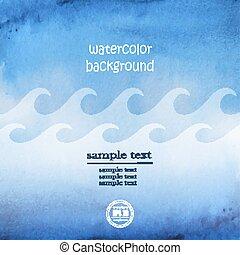 blu, vector., marina, astratto, onda, acquarello, fondo