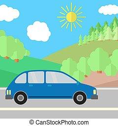 blu, veicolo utilità sport, su, uno, strada, su, uno, giorno pieno sole