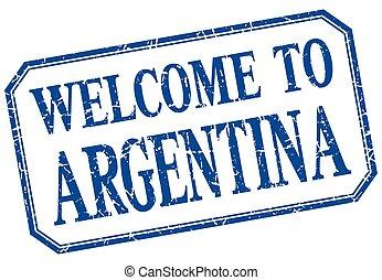 blu, vendemmia, benvenuto, -, isolato, etichetta, argentina