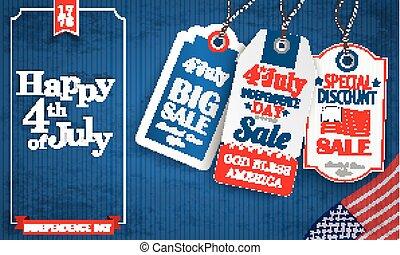 blu, vendemmia, cornice, 3, 4, luglio, adesivi, prezzo, felice