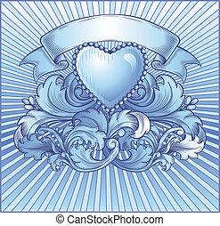 blu, vendemmia, emblema