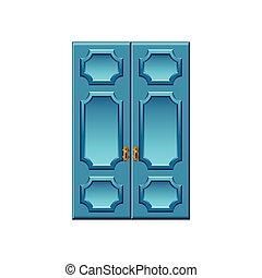 blu, vendemmia, isolato, vettore, porte, bianco