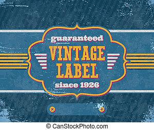 blu, vendemmia, labelon, invecchiato, cartone