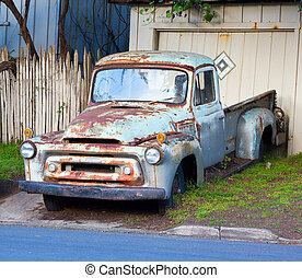 blu, vendemmia, pickup, arrugginito, camion
