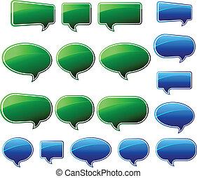 blu & verde, discorso, elegante, bolle