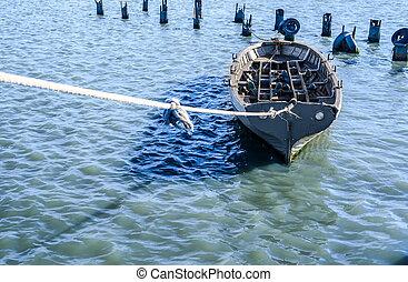 blu-verde, pesca, acqua, barca, legato, corda, grigio