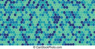 blu verde, toni, esagonale, astratto, fondo