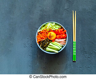 blu, verdura, manzo, tradizionale, fondo., cuisine., piatto, pietanza, coreano, uovo, bibimbap