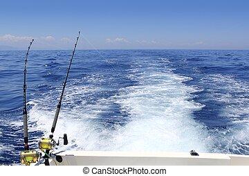 blu, verga, soleggiato, scia, pesca, mare, trolling, giorno...