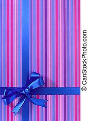 blu, verticale, regalo, involucro, caramella, arco, carta, fondo, striscia, nastro