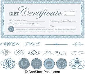 blu, vettore, bordo, ornamenti, certificato