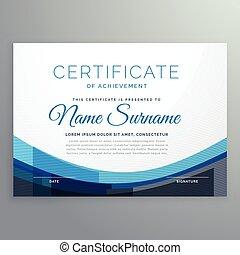 blu, vettore, certificato, elegante, ondulato, disegno, realizzazione