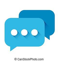 blu, vettore, chiacchierata, icona