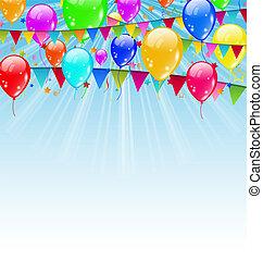 blu, vettore, -, cielo, illustrazione, compleanno, bandiere, fondo, coriandoli, vacanza