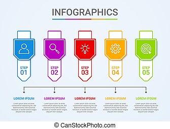 blu, vettore, dati, illustrazione, sagoma, fondo, visualizzazione, affari, passi, infographic, 5