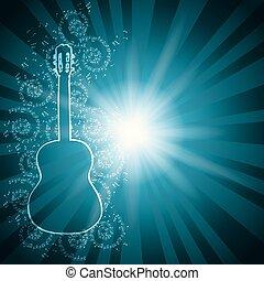 blu, vettore, fondo, con, note musica, e, chitarra, -, raggi, da, centro