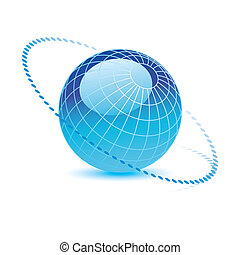 blu, vettore, globo