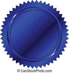 blu, vettore, illustrazione, sigillo