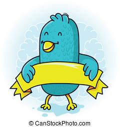 blu, vettore, nastro, uccello, giallo