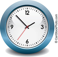 blu, vettore, orologio