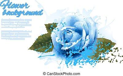 blu, vettore, rose., cartolina auguri