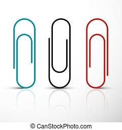 blu, vettore, set., clip., clip, carta, nero rosso