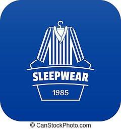 blu, vettore, sleepwear, icona