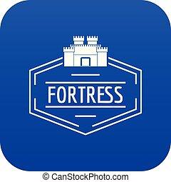 blu, vettore, vecchio, fortezza, icona