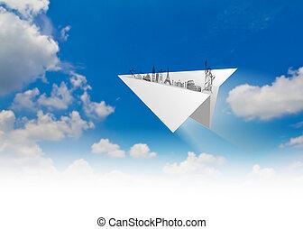 blu, viaggiare, piani, cielo, carta, york, (japan