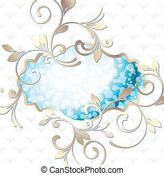 blu, vibrante, rococo, emblema