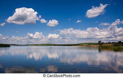 blu, villaggio, cielo, lago, fondo, pacifico, paesaggio