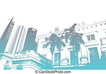blu, vita città, astratto, moderno, trendy