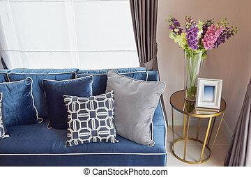 blu, vivente, cuscini, classico, divano, vaso, retro, tavola, marina, angolo, bello, lato, orchidea