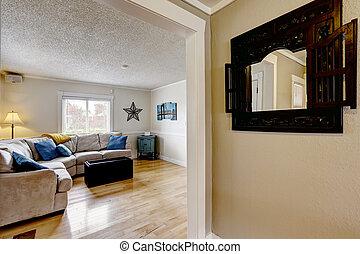 blu, vivente, cuscini, divano, beige, stanza