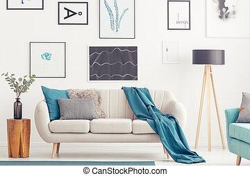 blu, vivente, interno, stanza