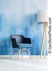 blu, vivente, interno, stanza moderna
