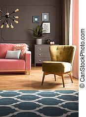 blu, vivente, reale, stanza, pavimento, legno duro, poltrona, photo., tappeto, scuro, elegante, rosa, sofa., verde, polvere, grigio, modello, interno