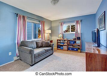 blu, vivente, secondario, stanza, walls.