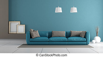 blu, vivente, stanza moderna