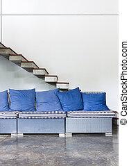 blu, vivente, stile, stanza, divano, moderno, interno, mobilia