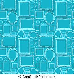 blu, vuoto, cornici, seamless, modello, fondo