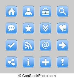 blu, web, bottone, segno, fondamentale, raso bianco, icona